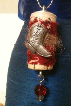 Upcycled Wine Cork Pendant: Cowgirl