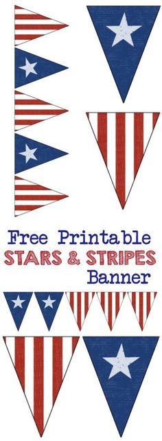 Stars and Stripes Banner Free Printable - Paper Trail Design Stars and Stripes Banner Free Printable. Decorate with this American flag inspired banner for Memorial Day, Fourth of July, Veterans Day or any patriotic holiday. Independence day, of July, July Patriotic Crafts, Patriotic Party, July Crafts, 4th Of July Party, Fourth Of July, Patriotic Wreath, Holiday Crafts, Printable Star, Free Printables