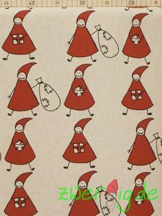 Weihnachtsstoffe - Weihnachtsstoff mit Wichtelmännchen - Dekostoff - ein Designerstück von zwergigDE bei DaWanda