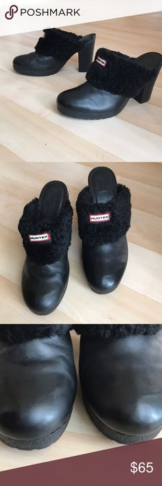 """Black Hunter leather booties Black Hunter leather booties with real sheep fur. Soft leather. Great used condition. Heel height is 4"""" Hunter Shoes Ankle Boots & Booties"""