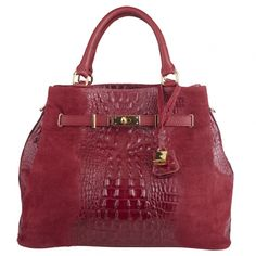 Nancy cherry red Italian suede leather croc embossed handbag