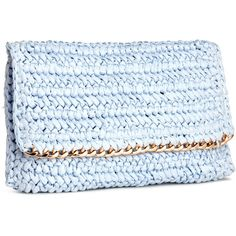 H&M Straw clutch ($5.69) ❤ liked on Polyvore featuring bags, handbags, clutches, h&m, purses, light blue, man bag, blue clutches, zipper purse and woven purse