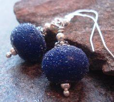 Handmade Earrings Beaded Jewelry Cobalt Blue Artisan by JensFancy, $25.00
