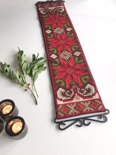 Your place to buy and sell all things handmade Norwegian Christmas, Christmas Mood, Christmas Star, Wool Wall Hanging, Tapestry Wall Hanging, Scandinavian Tapestries, Textile Tapestry, Metal Hangers, Vintage Textiles