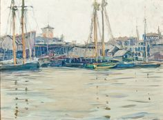 """Boats at Harbor, Gloucester"", Jane Peterson, Oil on canvas, 18 x 24"", Hirschl & Adler Galleries."
