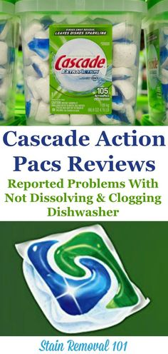 Here are reviews of Cascade Action Pacs dishwasher detergent, with several people reporting that the pacs were not dissolving or were clogging their dishwasher {more information on Stain Removal 101} Deep Cleaning Tips, House Cleaning Tips, Car Cleaning, Spring Cleaning, Cleaning Hacks, Dishwasher Detergent, Clean Dishwasher, Homemade Toilet Cleaner, Clean Freak