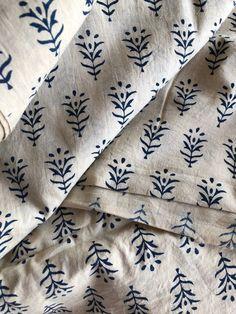 Hand Block Print Fabric Indian Cotton Fabric navy buta all Ikat Fabric, Cotton Fabric, Bleu Indigo, Textiles, Fabric Scraps, Scrap Fabric, Beige Background, Ceramic Painting, Home Decor Styles