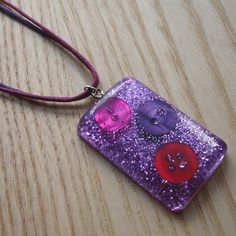 Sparkle Purple Resin and Button Pendant by sweetpyroangel on Etsy, £6.00
