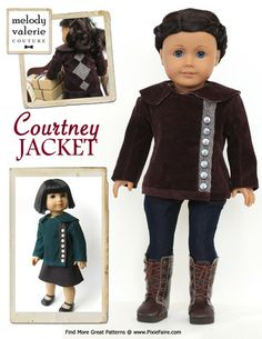 Courtney Jacket 18 inch Doll Clothes pattern www.pixiefaire.com