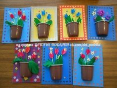 Flowers in a pot Diy And Crafts, Crafts For Kids, Arts And Crafts, Diy Paper, Paper Crafts, Spring Theme, Idee Diy, Mothers Day Crafts, Spring Crafts