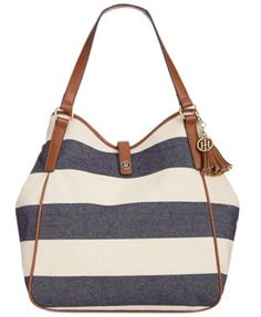 51a2a35996d TOMMY HILFIGER Tommy Hilfiger Hazel Woven Rugby Tassel Tote. #tommyhilfiger  #bags #leather #hand bags #tote #cotton #