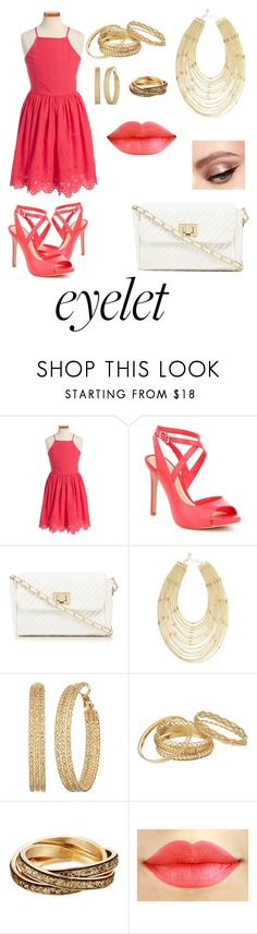 """""""Salmon Starlet"""" by rainbowsforhire ❤ liked on Polyvore featuring Gianni Bini, Red Herring, BCBGMAXAZRIA and GUESS"""