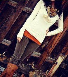 Perfect outfit for fall love the orange pop color