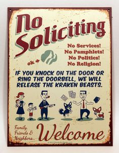 Lovely Kraken Beasts   NO SOLICITING SIGN Nuclear Retro Vintage Faux Tin Rust:  Customize, New, Durable, Waterproof, Ready To Hang, Outdr Metal Sign