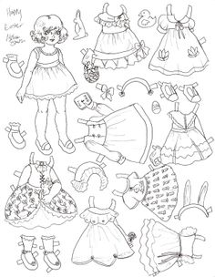 paper dolls to cut out and color | happy easter paper doll
