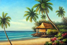 Hawaiian School of Fish Cartoon | Beach House Shore Hawaii Coast Palm Trees Seascape Art Stretched Oil ...