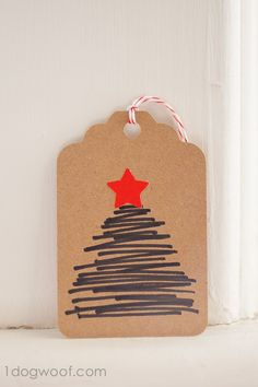 This tag is the simplest of the bunch - all you need are some markers and a deep breath to make a hand-drawn Christmas tree gift tag!