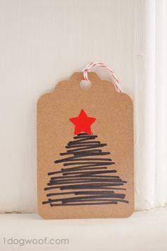 Homemade Christmas Gift Tags Day 12: Hand-drawn Christmas Tree - One Dog Woof