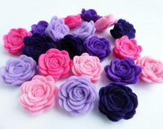 Felt flower Shapes. 20 pieces, Felt headband, Felt hair clips, Die Cut Shapes, Applique, Confetti, Party Supply, DIY Wedding