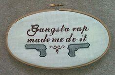 Gangsta Rap  Cross stitch Wall Hanging by BabesandBooks on Etsy, $38.00
