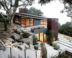 Steep Hillside House Plans Modern Exterior By Architecture Inc Steep Slope House Designs – rehberlik. Modern Exterior, Exterior Design, Exterior Colors, Exterior Paint, Houses On Slopes, Hillside House, Santa Lucia, House On A Hill, House 2