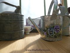 Vintage Watering Cans; galvanized zinc for my junk garden