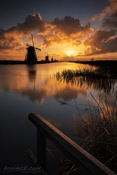 The Netherlands Travel Inspiration - ~~Kinderdijk Sunrise ~ windmill waterscape, Holland by Dominik Beedgen~~ Beautiful Sunset, Beautiful World, Beautiful Places, Le Moulin, Belle Photo, Wonders Of The World, Landscape Photography, Travel Photography, Cool Pictures