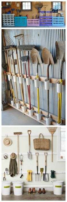 Shed Plans - You have a messy garage? So some clever storage ideas for storing your garden tools without spending a fortune. Make your own DIY Garden Tool Rack! - Now You Can Build ANY Shed In A Weekend Even If You've Zero Woodworking Experience! Garage Shed, Garage Tools, Barn Garage, Yard Tools, Garage Workbench, Garage Workshop, Garage Plans, Shed Workbench Ideas, Workshop Storage