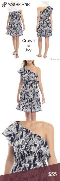 2d43a08a934c Crown & Ivy Giraffe Print Ruffle Off Shoulder Navy CROWN & IVY  women's sleeveless