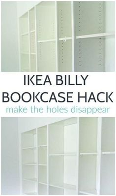 This is such an easy Billy Bookcase hack and it makes such a difference. This trick for filling the holes in IKEA bookcases is quick, easy, and inexpensive. And it definitely makes your IKEA furniture look more expensive! Ikea Billy Bookcase Hack, Ikea Shelves, Built In Bookcase, Billy Bookcases, Ikea Shelf Hack, Modular Furniture, Ikea Furniture, Cool Furniture, Furniture Design