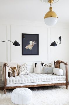 chic european style daybed with modern lighting