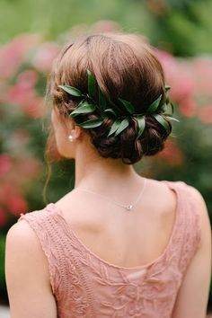 Hairstyle decorated with  natural green leaves