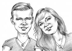 Caricature for couple pencil caricature for 2 person couple