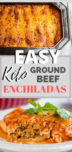 Easy Ground Beef Keto Enchiladas - This is a go to dinner in our house. The whole family loves it and it's easy to make. This makes a great meal prep and freezer friendly dinner option too. The best… Tortillas, Keto Foods, Keto Meal, Easy Dinner Recipes, Easy Meals, Easy Recipes, Cena Keto, Ground Beef Keto Recipes, Ground Beef Enchiladas