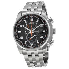 Citizen Eco Drive Black Dial Stainless Steel Mens Watch AT9010-52E #Citizen