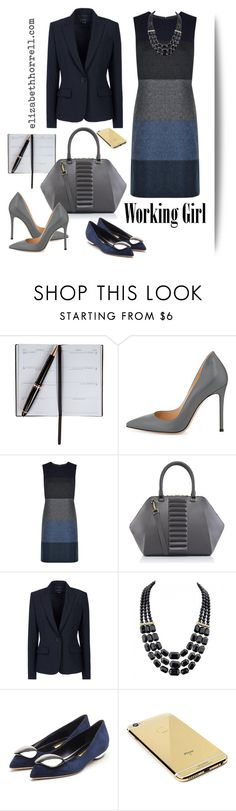 Liz by elizabethhorrell on Polyvore featuring Hobbs, Theory, Rupert Sanderson, Gianvito Rossi, Kristina George, Goldgenie, Smythson, women's clothing, women's fashion and women