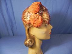 TF- Vintage 50s coral-orange ribbon rosettes headband hat + veil