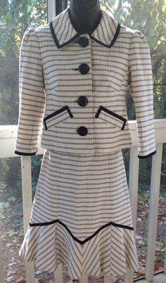Nanette Lepore Skirt Suit Sz 2 Cotton Poplin Navy Ivory 100% Cotton  #NanetteLepore #SkirtSuit