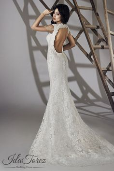 Queenly Trumpet-Mermaid V-Neck Natural Court Train Lace Ivory Sleeveless Open Back Wedding Dress Beading 01066 #weddingdresses #cocomelody #designercolections