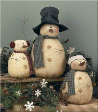 Primitive Rolly Polly Snowmen Set