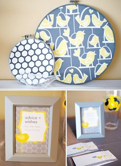 Love the color combo for this baby shower. Yellow and grey is my fav!