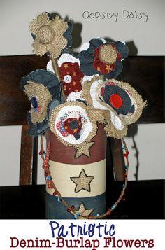 patriotic denim and burlap flowers