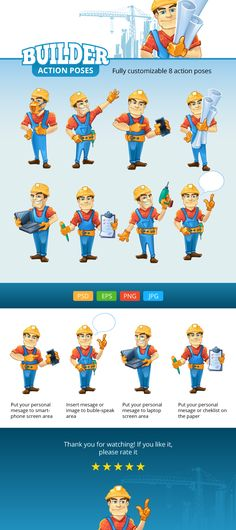 Buy Builder Mascot Set by Alex_cardo on GraphicRiver. Builder mascot pack available in 8 action pose. Character Creation, Character Design, Smart Image, Mascot Design, Action Poses, Logo Sticker, Illustrations And Posters, Designs To Draw, Cartoon Characters