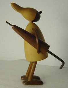 Danish Wooden Figurine Child with Umbrella Signed Chris Vejle Denmark | eBay