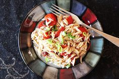 Roasted Tomato and Orzo Salad  -  fresh and healthy side dish idea