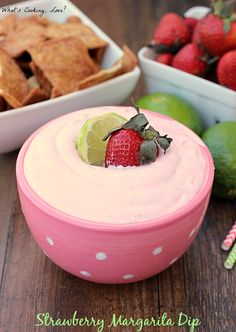 Strawberry Margarita Dip. A delicious and creamy non-alcoholic strawberry and lime flavored dip that tastes like a strawberry margarita.