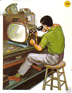 Grandpa owned a vintage TV repair shop. He liked being his own boss!