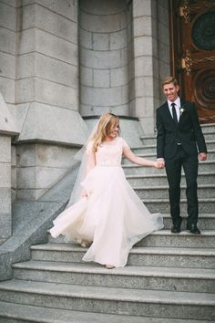 modest wedding dress with lace sleeves from alta moda.      --------      photo by tessa barton