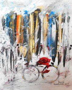 """""""BIKER"""" -  opera di Roberto Sironi - acrilico su tela - 40 x 50"""