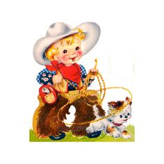 """Western (no.14-W) """"Cowboy with Dog""""  vintage ready to print digital image for DIY fabric transfers, wall art etc JPEG or PNG by email. $3.50, via Etsy."""
